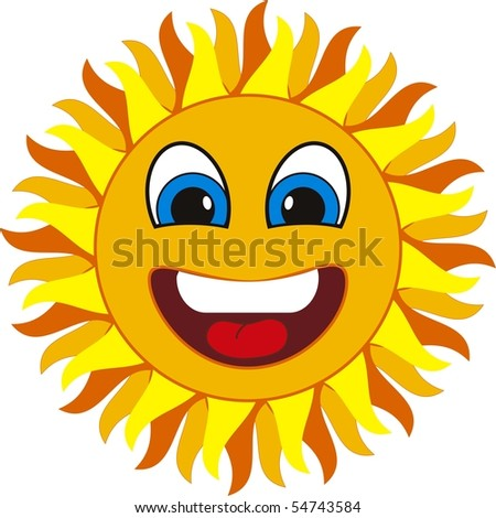 smiling sun. Isolated on withe background - stock vector