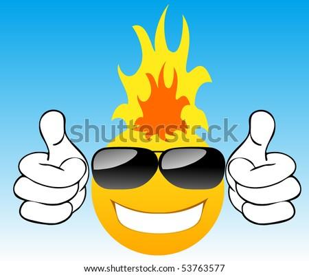 clip art sun with sunglasses. stock vector : Smiling sun