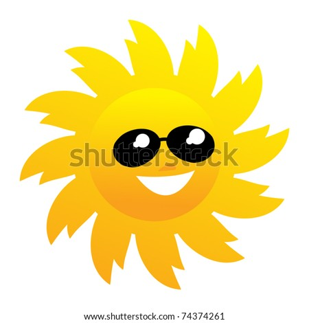 Smiling sun with sunglasses, vector illustration