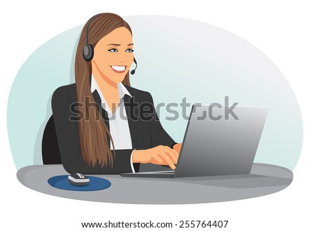 smiling support center operator