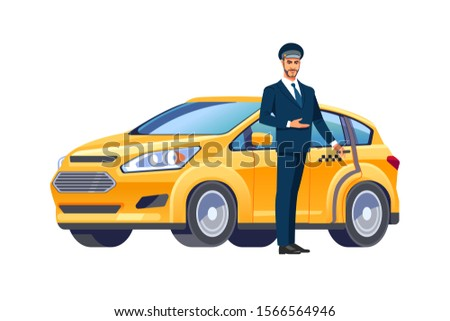 Smiling taxi driver in uniform near his car.Taxi service. Perspective view.  Vector illustration in cartoon flat style.  Foto stock ©