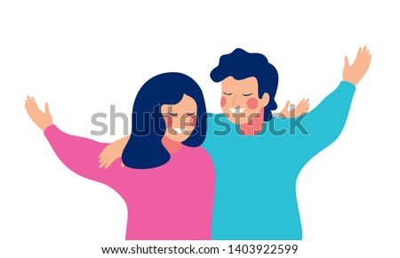 Smiling teenage boy and girl or school friends standing together, embracing each other, waving hands.  Flat cartoon vector illustration isolated on white background.