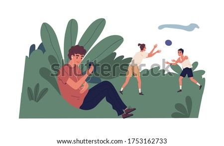 Smiling teenager in headphones holding smartphone making video call at park vector flat illustration. Modern guy sitting in bushes chatting online conversation during male play ball isolated