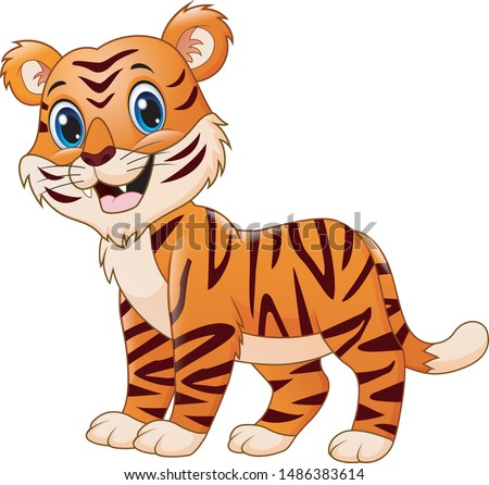 smiling tiger cartoon isolated