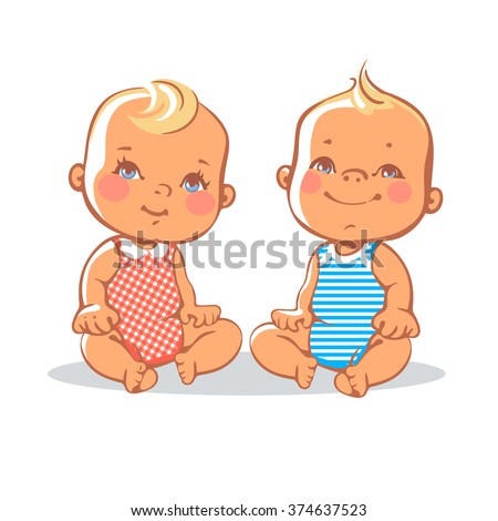 Smiling toddler boy and girl sitting. Portrait of happy smiling kids.  Blonde, blue eyes.  European children. Colorful vector illustration on white background
