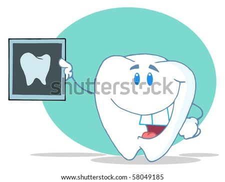 Smiling Tooth Cartoon Character With X-ray Picture