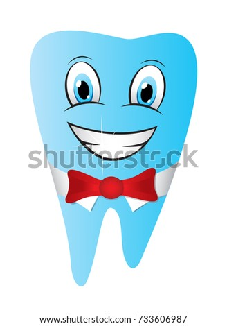 Smiling tooth funny mascot character vector illustration isolated on white background