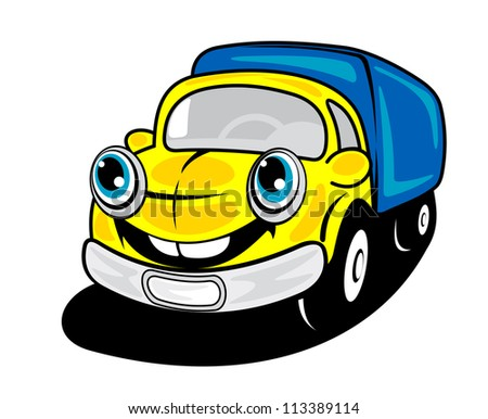 Smiling truck in cartoon style for delivery transportation design, such a logo template. Jpeg version also available in gallery