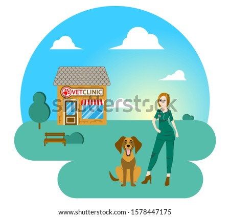 Smiling veterinarian near happy dog. Veterinary clinic. Clinic for medical care of domestic and wild animals.