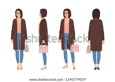 Smiling woman dressed in elegant casual clothes. Pretty girl wearing jeans and cardigan and holding handbag. Female cartoon character isolated on white background. Flat cartoon vector illustration.
