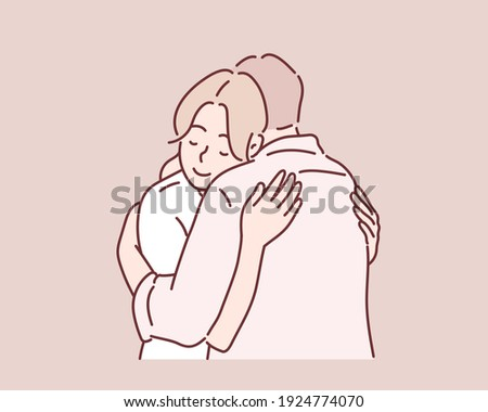 Smiling woman hugging her husband. Hand drawn style vector design illustrations.