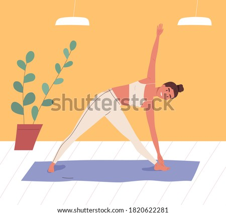 Smiling woman practicing body stretching at gym vector flat illustration. Female in sportswear doing yoga exercise on mat. Sportswoman during sports training. Active person enjoying aerobics Photo stock ©