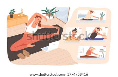 Smiling woman practicing online yoga classes at home vector flat illustration. Group of active female stretching on mat watching video lesson or live stream isolated. Sports girl doing exercise