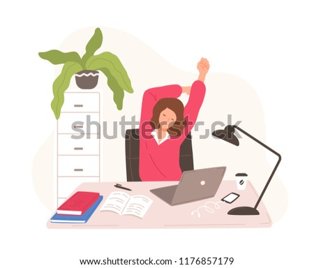 Smiling woman sitting at desk with laptop taking rest and stretching herself. Female office worker or clerk having short break during work at computer. Vector illustration in flat cartoon style.