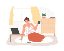 Smiling woman sitting on floor use laptop at comfortable home vector flat illustration. Happy freelancer female working remotely isolated. Cheerful girl hold hot tea enjoy internet entertainment