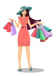 Smiling Woman with shopping bags. Happy shopping girl. Vector. A hand holding shopping bags to promote sales. Commercial background with lady and shopping bags. Isolated.