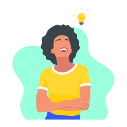 Smiling young black african woman with arms crossed having a good idea concept. Lightbulb symbol. Creativity design. Creative woman. Innovation and invention - Flat vector character illustration.