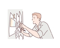 Smiling young businessman busy writing on whiteboard, developing company through a financial business plan. Hand drawn style vector design illustrations.