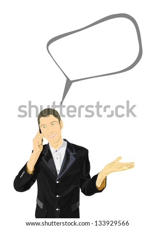 smiling young man in a business suit talking on the phone