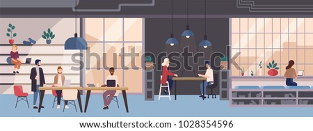 Smiling young people working on laptops in co-working area. Male and female freelance workers sitting at computers in modern open space or shared workplace. Colorful vector illustration in flat style.