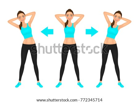 Smiling Young pretty woman make side bend exercise with hands behind head. Fit girl in leggings and crop top. Warm-up instruction vector illustration.
