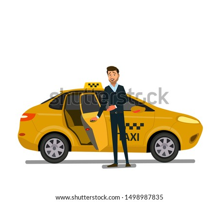 Smiling young taxi driver near his car.Taxi service. Vector illustration in flat style.