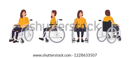 Smiling young woman in wheelchair isolated on white background. Female character undergoing rehabilitation after trauma or disease. Front, side, back views. Vector illustration in flat cartoon style. Photo stock ©