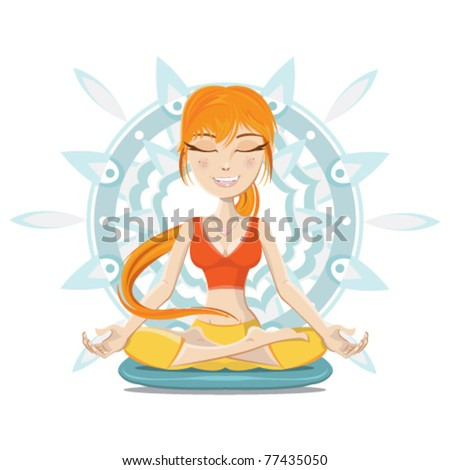Smiling young woman relaxing meditation on yoga class