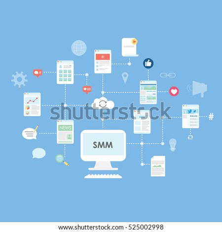 smm and seo concept with