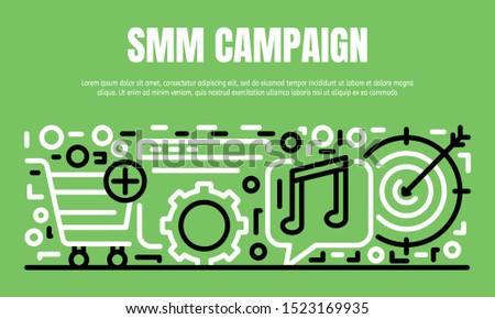 SMM campaign banner. Outline illustration of SMM campaign vector banner for web design
