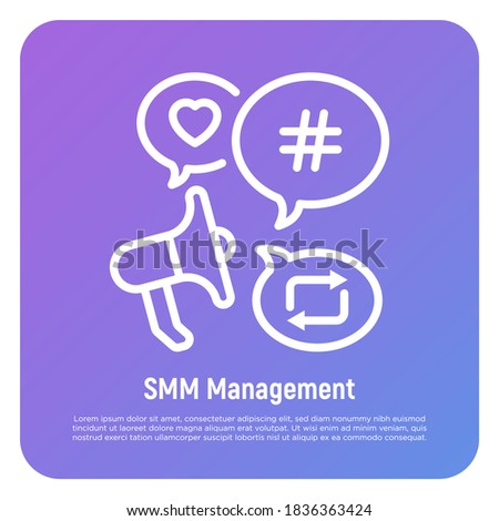 SMM management thin line icon: magaphone with speech bubbles that contains hashtag, repost, heart. Digital strategy. Vector illustration.