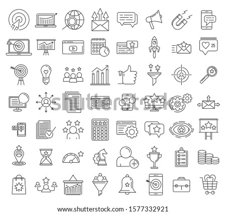 smm name icons set outline set