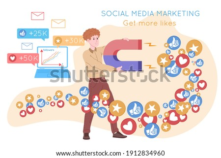 Smm, social media marketing, digital promotion on the internet, social network. Smm agency banner. Man attracts hearts and likes with a magnet. Cartoon vector illustration for advertising services.  Foto stock ©