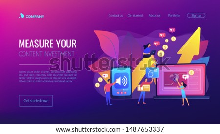 SMM, social media network influencer marketing. High ROI content, top media content production, measure your content investment concept. Website homepage landing web page template.