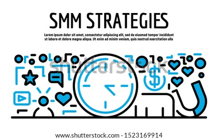 SMM strategies banner. Outline illustration of SMM strategies vector banner for web design