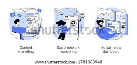 SMM strategy abstract concept vector illustration set. Content marketing, social network monitoring, social media dashboard, digital marketing, user engagement, report analysis abstract metaphor.
