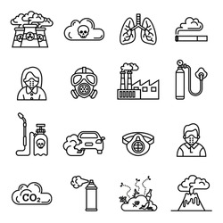 Smog, Air pollution icons set - ecology, environment concept. Line Style stock vector.
