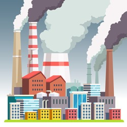 Smog polluted urban landscape. Highly polluted city with factory plants smoking towers and pipes. Environment contaminating carbon dioxide emissions. Flat style vector illustration.