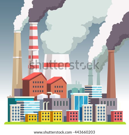 Smog polluted urban landscape. Highly polluted city with factory plants smoking towers and pipes. Environment contaminating carbon dioxide emissions. Flat style vector illustration.  ストックフォト ©