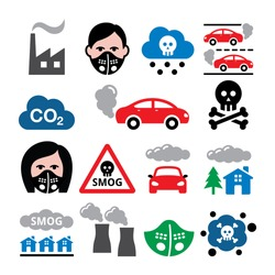 Smog, pollution, anti pollution mask vector icons set - ecology, environment concept