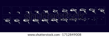 Smoke animation effect. Animation of smoke. Sprite sheet for game or cartoon or animation. 2d classic animation smoke effect. stock photo