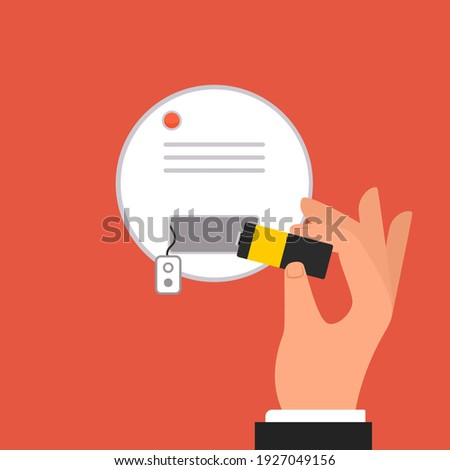 Smoke detector battery replace illustration. Clipart image. Stockfoto ©