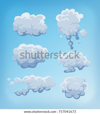 Smoke, Fog And Clouds Set On Blue Sky/ Illustration of a set of cartoon clouds, smoke patterns and fog icons on blue sky background