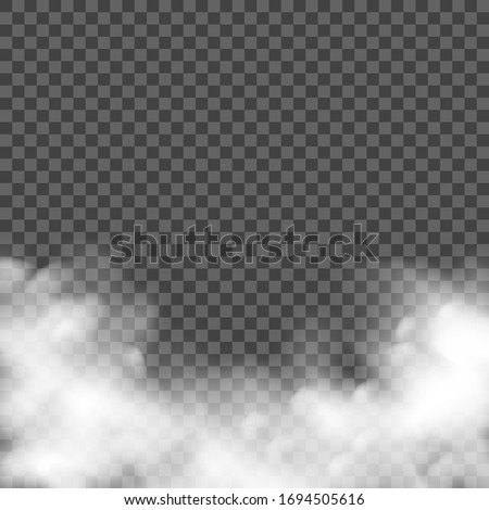 Smoke fog effect. Realistic smoke, vector mist. Transparent smog cloud dust background