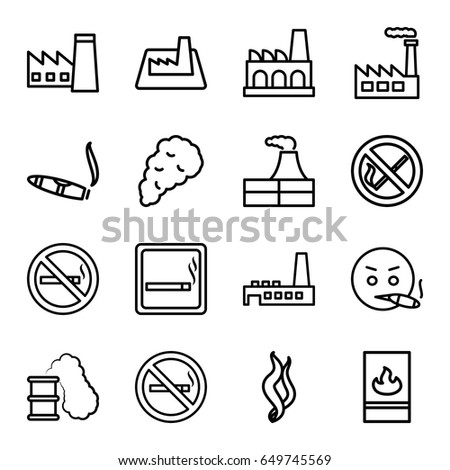 Smoke icons set. set of 16 smoke outline icons such as smoking area, no smoking, factory, cigarette, fire protection