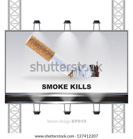 Smoke kills concept on a billboard. vector design