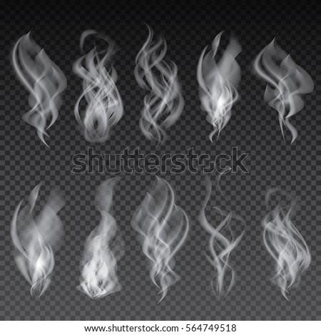 Smoke Set Isolated on Transparent Background. Vector Illustration.