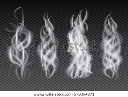 Smoke Set Isolated on Transparent Background. Vector Illustration.