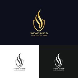 Smoke Shield Logo-Fire Shield logo template designs