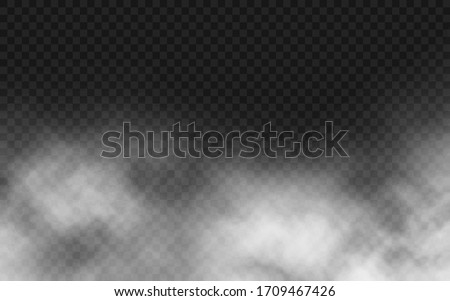 Smoke texture on transparent background. Realistic cloudiness or smog effect. White clouds or spooky mist. Fog special effect. Atmosphere effect. Vector illustration.